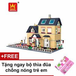 Bộ lego xếp hình Wange biệt thự nhà vườn mẫu 2 + tặng bộ thìa đũa
