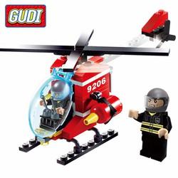 Đồ chơi xếp hình lego máy bay cứu hỏa Gudi 9206-91 chi tiết