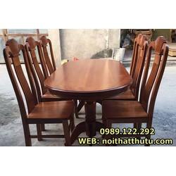 Bộ bàn ăn bầu dục gỗ chẹo