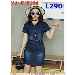 Đầm jean công sở kiểu ôm phối túi sành điệu cá tính DJE164