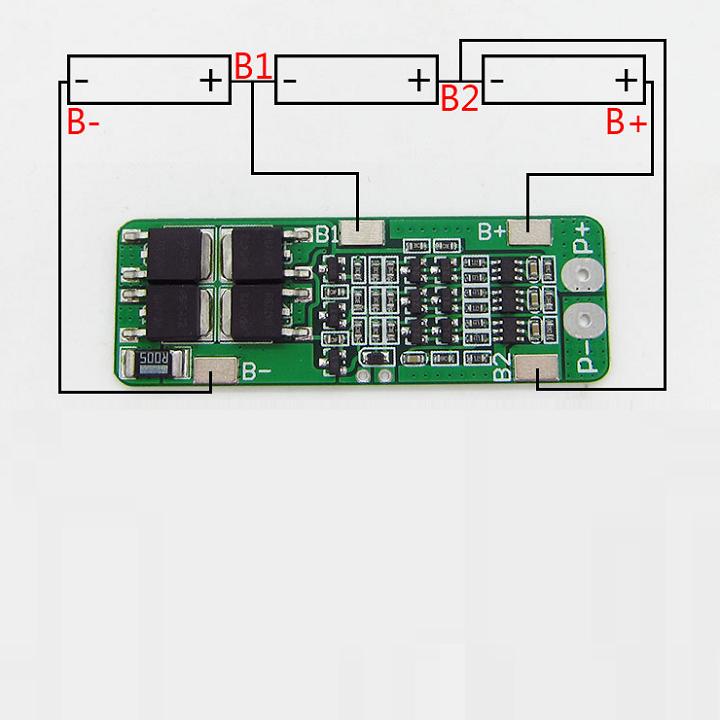 Mạch bảo vệ sạc pin 3 cell 18650- 12.6V - 15A 3
