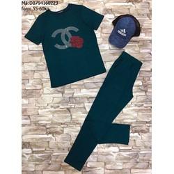 Đồ bộ tay ngắn quần dài đính hạt chữ X hoa hồng