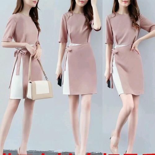 Đầm suông nữ cột eo cao cấp D9875