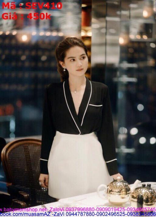 Sét áo kiểu xẻ cổ V viền trắng phối chân váy xòe thời trang SEV410 1