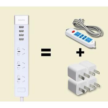 Ổ CẮM ĐIỆN RM CHÍNH HÃNG 4 CỔNG USB, 3 Ổ 3 LỔ, 3 Ổ 3 LỔ