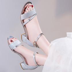 Giày gót vuông kim tuyến cao cấp CK280