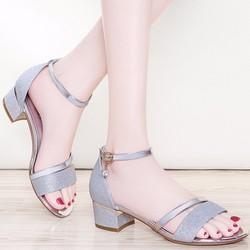 Giày gót vuông nữ kim tuyến quai ánh kim - LN1338