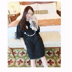 Đầm thun, dáng suông, kiểu dáng hàn form rộng dành cho teen đen