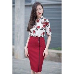 Set Áo Somi Hoa Hồng Và Chân Váy
