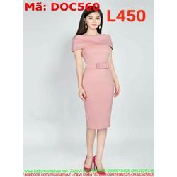 Đầm ôm dự tiệc cổ thuyền bẹt vai đính nơ eo xinh đẹp DOC560