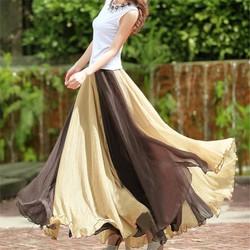 váy bohemieng phối màu Mã: VN590 - NÂU