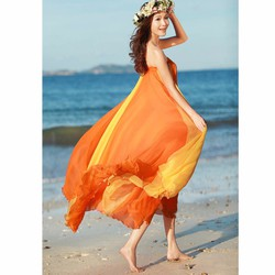 váy bohemieng phối màu Mã: VN590 - CAM