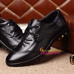 Giày tây nam bánthể thao da thật màu đen GLG049-Black