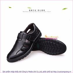 Giày rọ nam bánthể thao da thật màu đen GLG040-Black