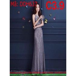 Đầm dự tiệc cổ yếm ren cao cấp sang trọng và quý phái DDH637