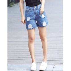 Quần Short Jean Nữ Form Lửng Rách 458