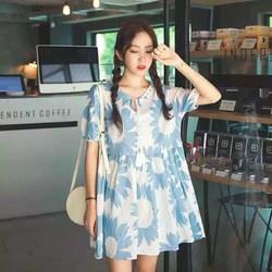 váy baby dol hoa xanh form rộng