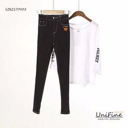 Quần jean đen chỉ trắng co big size cho nguoi map nguoi hon 60,70,80kg