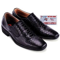 Giày tây Huy Hoàng vân da trăn màu đen -...