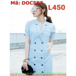 Đầm ôm công sở dạng vest đính nút sành điệu thanh lịch DOC557