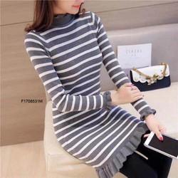 Đầm body len sọc cổ cao tay dài hàng nhập! MS: S170840 Gs: 135k