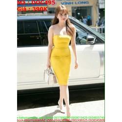 Đầm ôm cúp màu vàng sang trọng quý phái DOC495