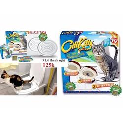 Dụng cụ huấn luyện mèo đi vệ sinh toilet