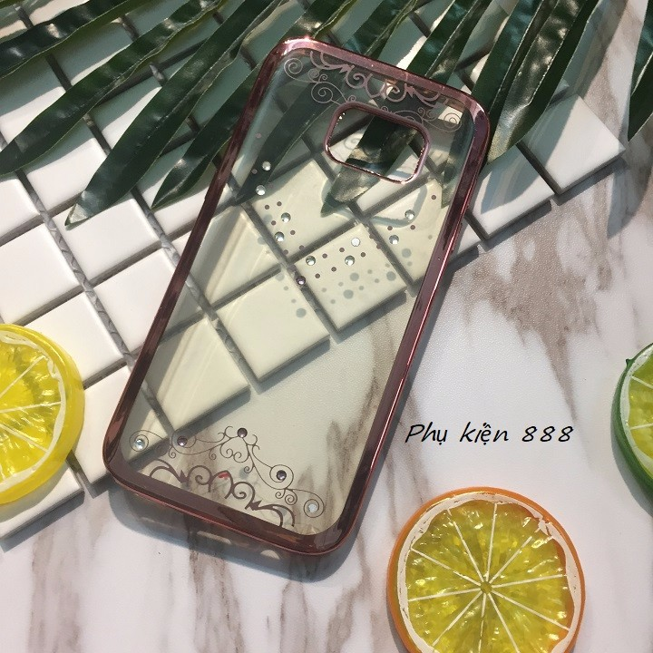 Ốp lưng Samsung Galaxy S6 viền hồng đính đá 3