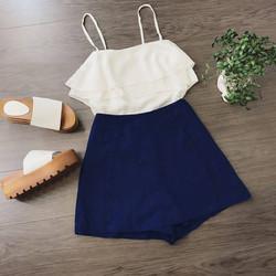 Set quần váy áo 2 dây voan tầng