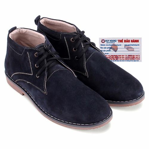 Giày boot nam Huy Hoàng da lộn màu xanh đậm