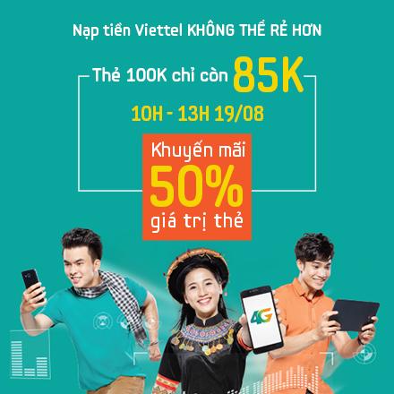 Viettel Giảm 15% & Tặng 50% Mệnh giá