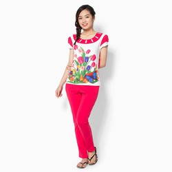Set đồ thun quần dài hoa Tulip 045-01 Size XXL