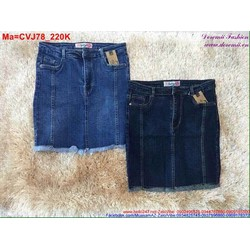 Chân váy jean hai màu xanh nhạt và xanh đậm trẻ trung CVJ78