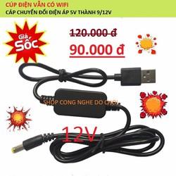 Cáp chuyển đổi điện áp 5v thành 12v 1A - Loại A Dùng cho modem Wifi