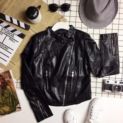 Áo khoác da cổ choker nút pha nắp túi phối dây kéo khoá