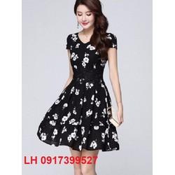 đầm xòe họa tiết - váy xòe - đầm xòe thời trang hàn Quốc - L12ADV32