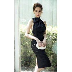 Chuyên sỉ - Đầm đen phi bóng sang trọng thiết kế ôm body cột nơ ở cổ