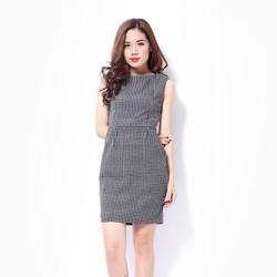 Đầm công sở Khánh Linh họa tiết trắng đen