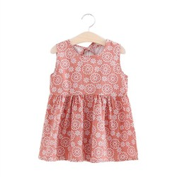 Đầm xòe bé gái cổ tròn họa tiết hoa MS 100