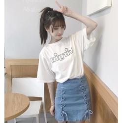 Chân váy jean ngắn cột dây 01