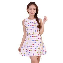 Đầm xòe dạo phố xinh xắn nền trắng họa tiết tím xanh