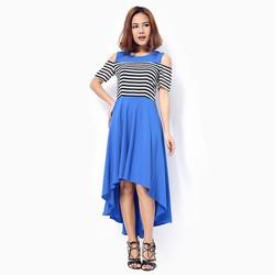 Đầm maxi Khánh Linh rớt vai màu xanh coban size L
