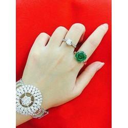 Mặt Nhẫn và Dây Chuyền Hoa Mẫu Đơn - Ngọc Phỉ Thúy