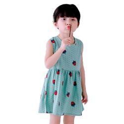Đầm xòe bé gái cổ tròn họa tiết dâu tây màu xanh nhạt số 110