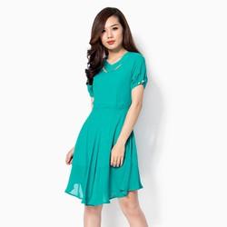 Đầm xòe cắt laze Khánh Linh màu xanh size M
