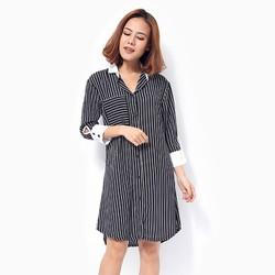Đầm Khánh Linh đen sọc trắng cổ sơ mi size XL