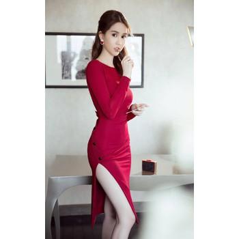 Chuyên sỉ - Đầm body tay dài thiết kế lưng V đẹp như Ngọc Trinh