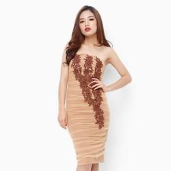 Đầm cúp ngực thời trang màu nâu