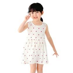 Đầm xòe bé gái cổ tròn họa tiết dâu tây nhí màu trắng số 110
