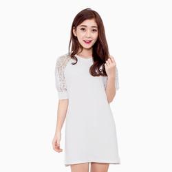 Đầm suông tay ren dạo phố xành điệu màu trắng